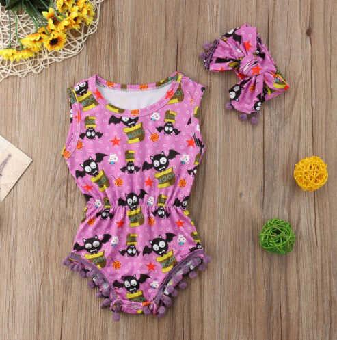 Hallowen Newborn Infant Toddler Bebê Menina Morcego Roupas Bodysuit Borla Sem Mangas Macacão Headband Outfits 2 pcs Roupas 0-24 m