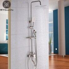 Brushed Nickel Shower Faucet Set for Bathroom with Storage Rack + Handheld Showerhead +Swivel Tub Spout + Bidet Sprayer Head