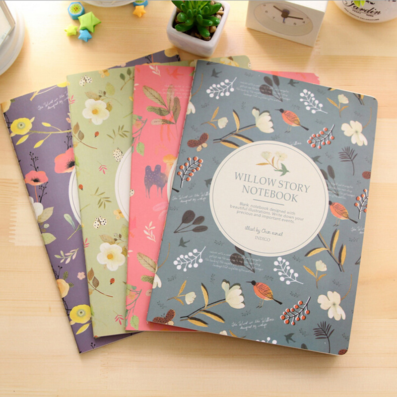 M39 1X Fresh Floral Birds Willow Story Notebook Plan Diary Writing Paper Student Stationery School Office Supplies Kids Gift шапка coccinelle coccinelle co238cwcgns3