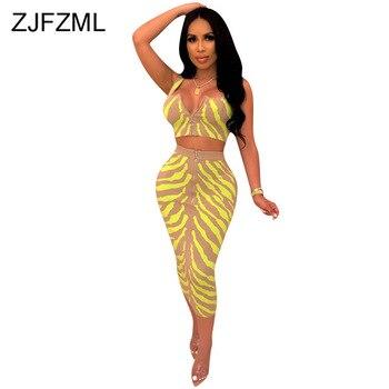 b820fd2d84 Estampado de rayas Sexy conjunto de dos piezas de ropa de verano para las  mujeres sin