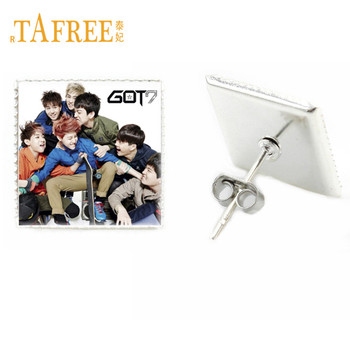 TAFREE Korea POP Band GOT7 Stud Earrings Never Ever Album Photocard Design K-POP New Fashion Art Photo Glass Earrings G29 image
