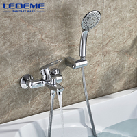 LEDEME 1 Set Bathroom Bathtub Faucet Chrome Plated Brass Bath Shower Faucets Waterfall Outlet Pipe Hot