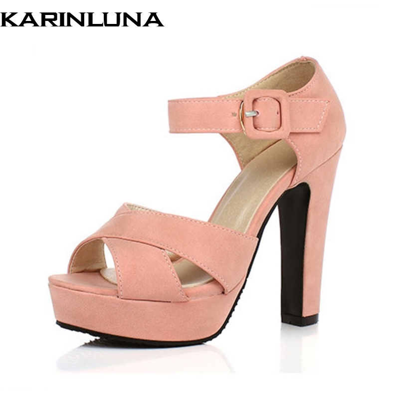 KarinLuna Women High Heel Sandals 2018 Ankle Straps Open Toe Platform Shoes Woman Summer Shoes Big Size 34-43 Party Wedding ribetrini women hot sale cow leather low heel wedges summer casual shoes woman ankle strap open toe platform sandals size 34 39