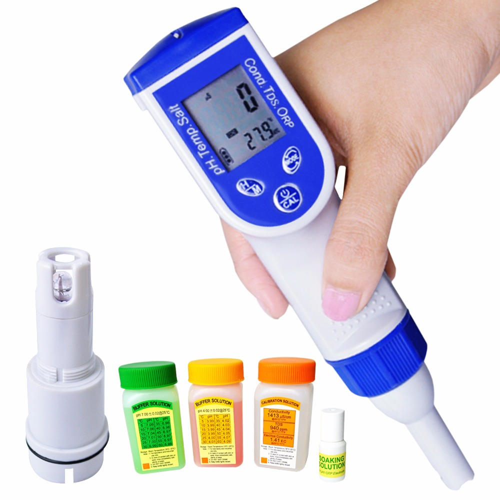 Digital Pen Tester pH EC TDS Salinity Temperature Water Quality 6-in-1 Meter tds digital salinity tester meter for salt water pool