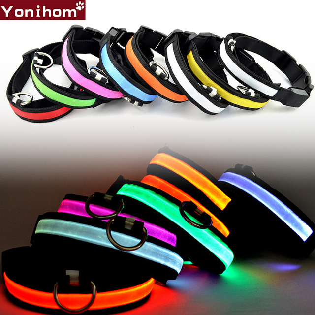 Pet Dog Collar Luminous LED Nylon Pet Dog Collar LED Light Night Safety Light Pet Supplies Collar Perro LED Dogs Collar for Cats