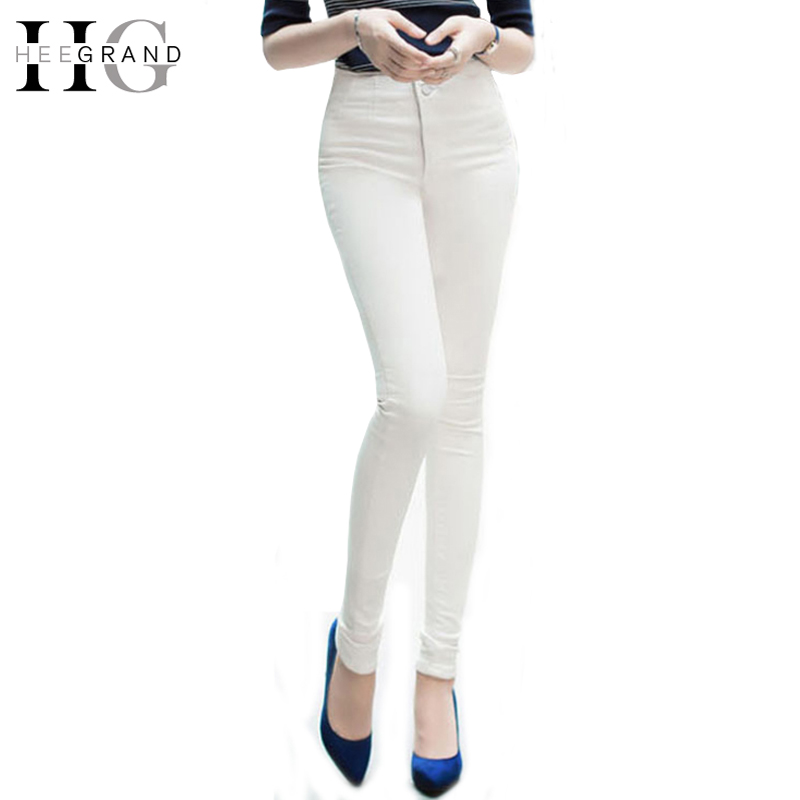 HEE GRAND 2017 Spring Skinny Slim High Waist Woman Sexy 2 Colors Jeans Full Length Pencil Women Jean Pants WKL602 hee grand 2017 spring summer men jeans full length business style slim fitted straight denim trousers plus size 29 40 mkn960