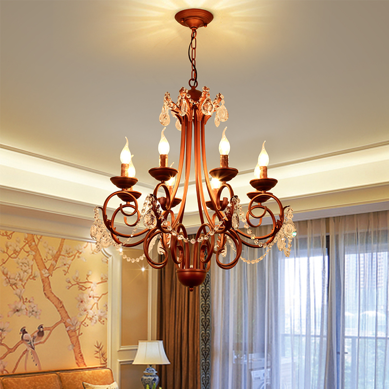 5/6/8 arms crystal chandelier rusty color iron rustic chandelier for dinning room home chandelier lighting fixture 100-240V fashion vintage metal rope chandelier ceiling lamp 6 candle lights lighting fixtures iron black rusty color for home lighting