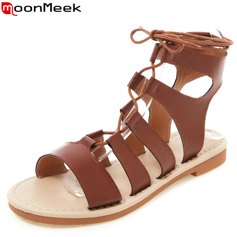 MoonMeek plus size 34 48 new summer sandals ankle strap ladies shoes gladiator sandals women 2019 casual flat with women sandals