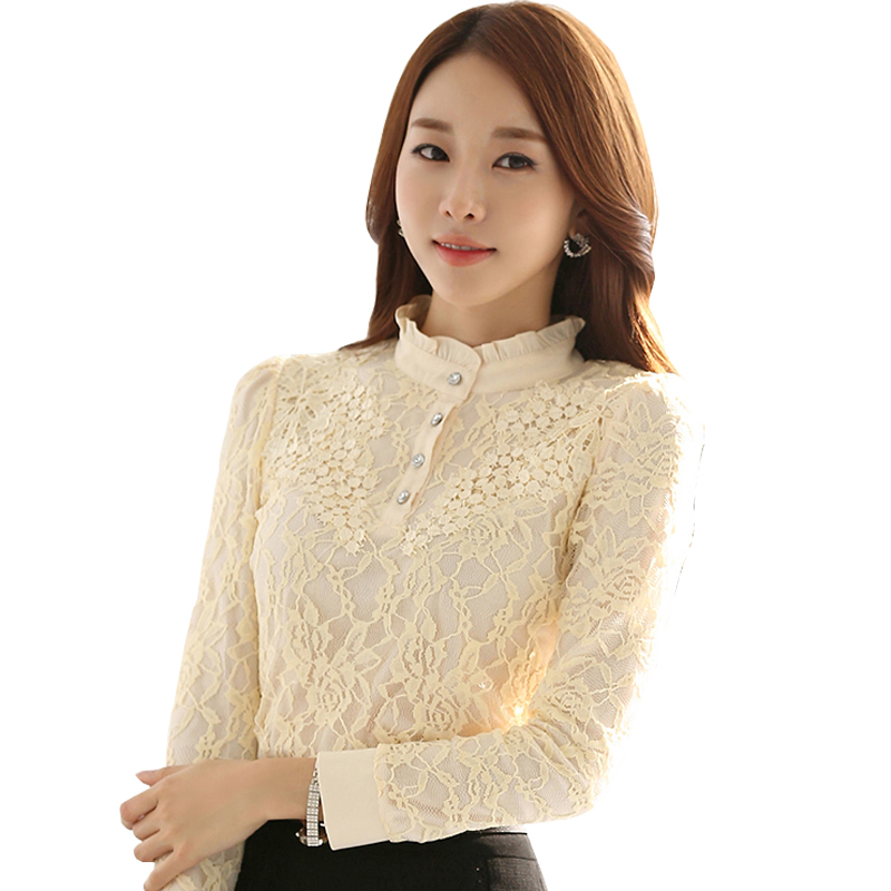 Autumn Korean Lady Lace Fashion Blouses Plus Size S-3XL Embroidery Design Clothing Women Black Casual Shirts - Natural Beauty store