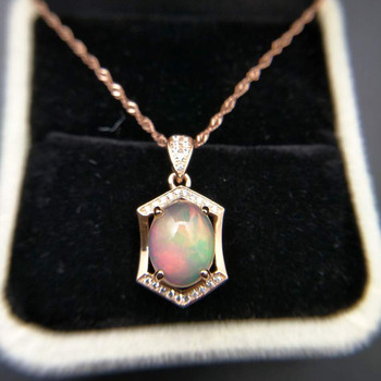 Ethopian Opal Pendant with Silver Chain 1