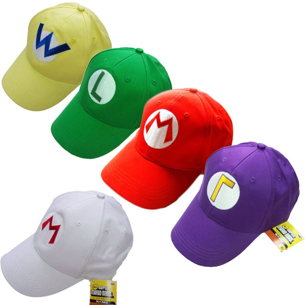 1 Piece Game Super Mario Bros Luigi Baseball Hat Adjustable Summer Embroidery Cap Cosplay 5 Colors super mario bros hat cartoon brand baseball cap mesh red mario anime cosplay costume hat summer bone adjustable letter m hats