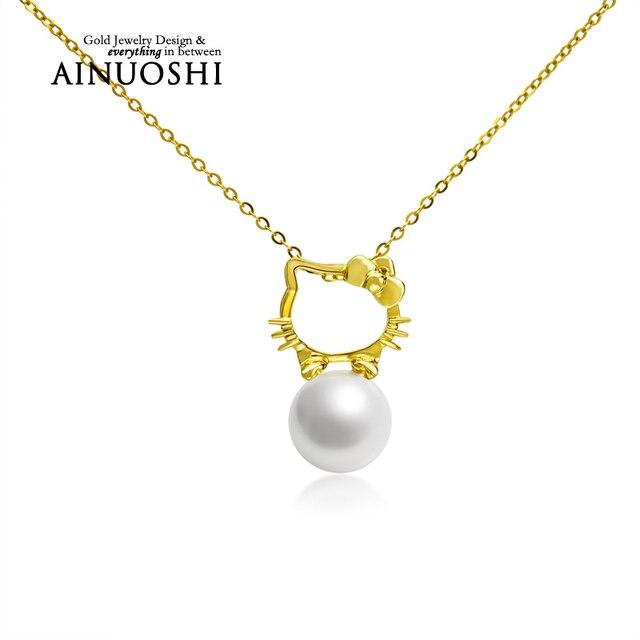 AINUOSHI 18 K Oro Amarillo Natural Cultivadas de agua dulce de Perlas Cadena de Eslabones Hello Kitty Colgante de Collar para La Señora de Navidad de Cumpleaños