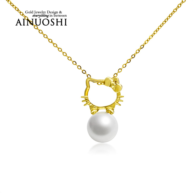 AINUOSHI 18K Yellow Gold Natural Cultured Freshwater Pearl Link Chain Hello Kitty Pendant Necklace for Lady Christmas Birthday