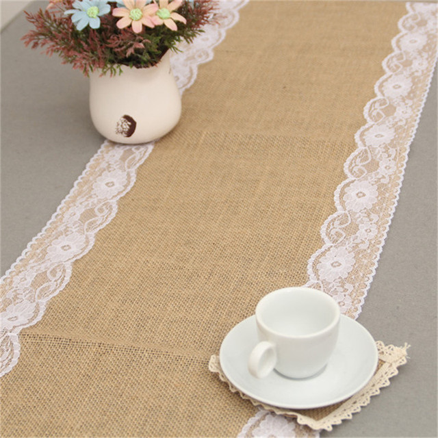 Rustic Burlap Lace Wedding Table Runner Party Event Supplies Hessian