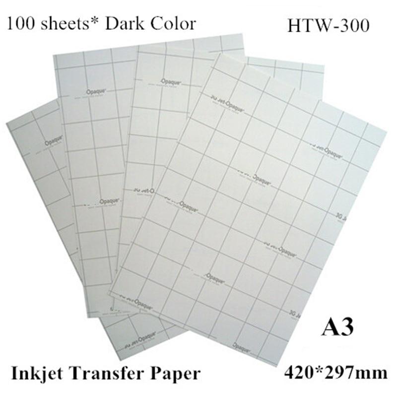 (A3*100pcs) Dark Iron On Inkjet Heat Transfer Paper A3 For T Shirts 100% Cotton For Dark And Light Fabrics HTW-300 HTW-300