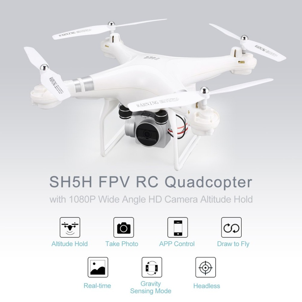 SH5H 2.4G FPV Drone RC Quadcopter with 1080P Wide Angle Wifi HD Camera Hold Headless Mode One Key Return Live Video quadrocopter 100% original new runcam 2 fpv hd camera av out fpv camera runcam2 1080p 120 angle wifi for walkera qav250 rc racing drone