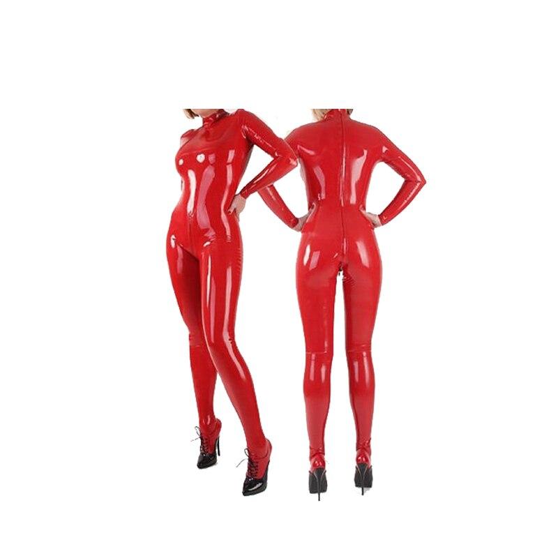 100% Latex caoutchouc rouge costume complet-corps Catsuit Zipper body femmes collants taille XXS ~ XXL