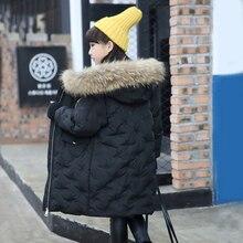 Девушка зима пуховики Девушка долго женский большая девочка детская одежда толстый слой верхней одежды с капюшоном меховой воротник куртка