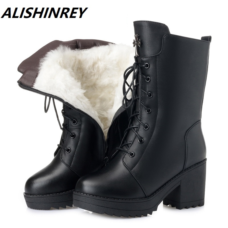 Women Winter Boots Genuine Leather Female boots high heeled women long boots wool lined warm snow