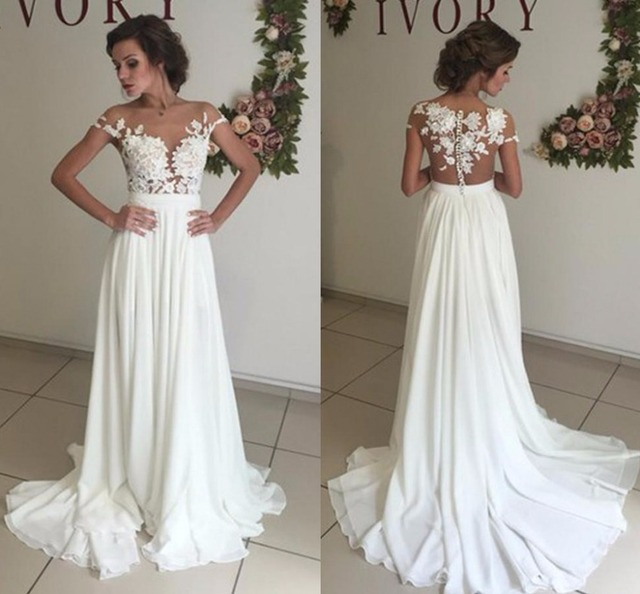 Sexy Summer Beach Wedding Dresses 2019 Lace Appliques A-line Chiffon See  Through Cap Sleeve Bridal Gowns for African Black Girls 6dcd23595df0