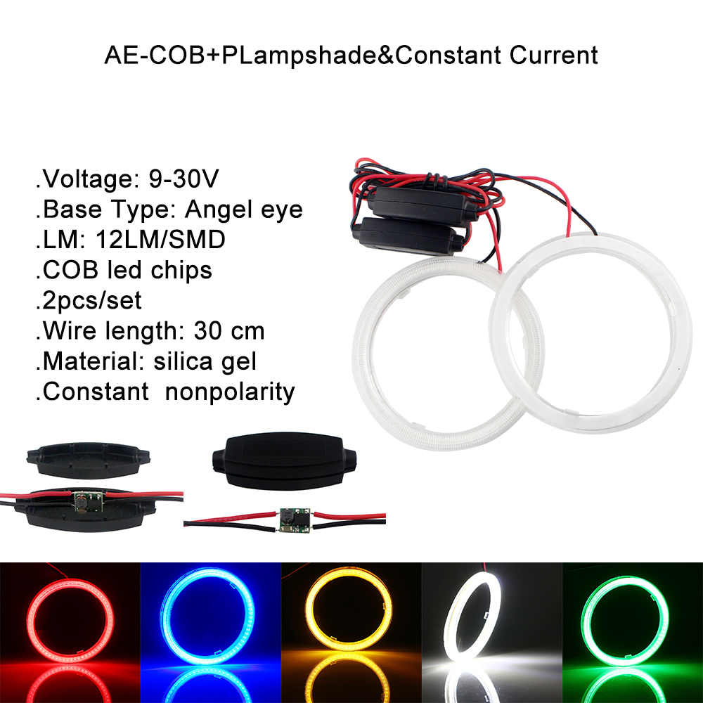 20 Pieces 60 mm 12V COB Car LED Angel Eyes Halo Ring With Lampshade 45SMD Weatherproof Halo Anneau Colorful LED Headlights Light in Car Light Assembly from Automobiles Motorcycles