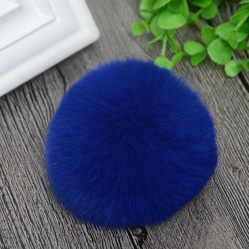 8cm Nature Genuine Rex Rabbit Fur Ball Pom Pom Fluffy DIY Winter Hat   Skullies     Beanies   Knitted Cap Pompoms TKF001-blue