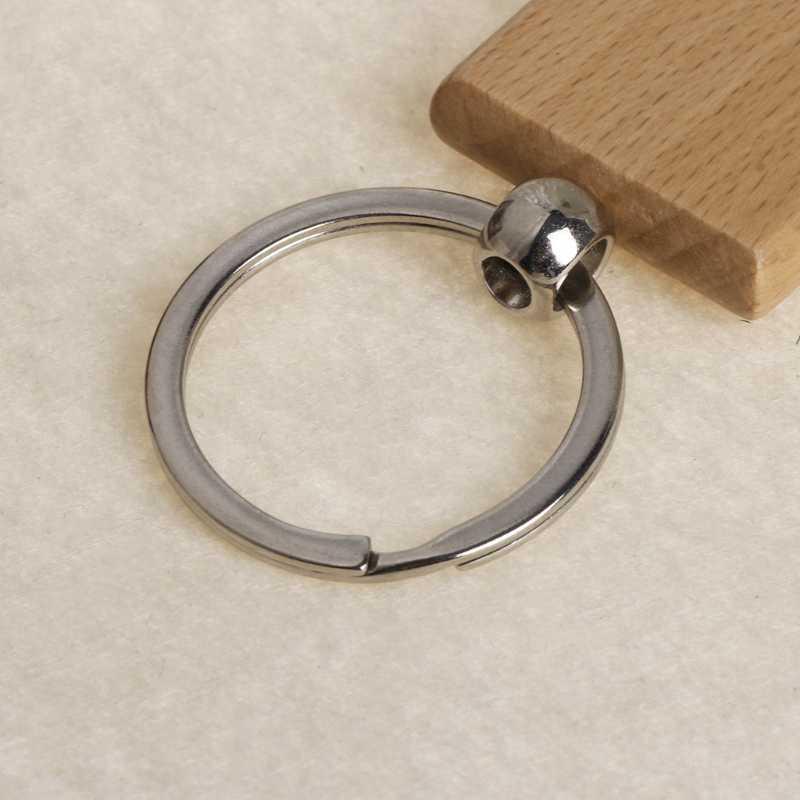 Natürliche Holz Schlüssel Ring Keychain Runde Platz Anti Verloren Holz Zubehör Geschenke