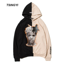Tsingyi Xxxtentacion Hoodies Men Women Hooded Spliced Funs Revenge Hoodie Streetwear Hip Hop Sweat Homme Men Xxxtentacion Hoodie