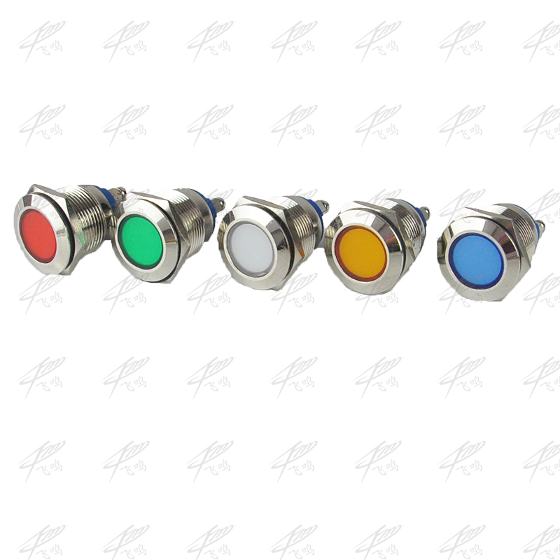 LED Metal Indicator light Flat 12mm waterproof Signal lamp LIGHT 3V 6V 12V 24V 220V screw connect red yellow blue