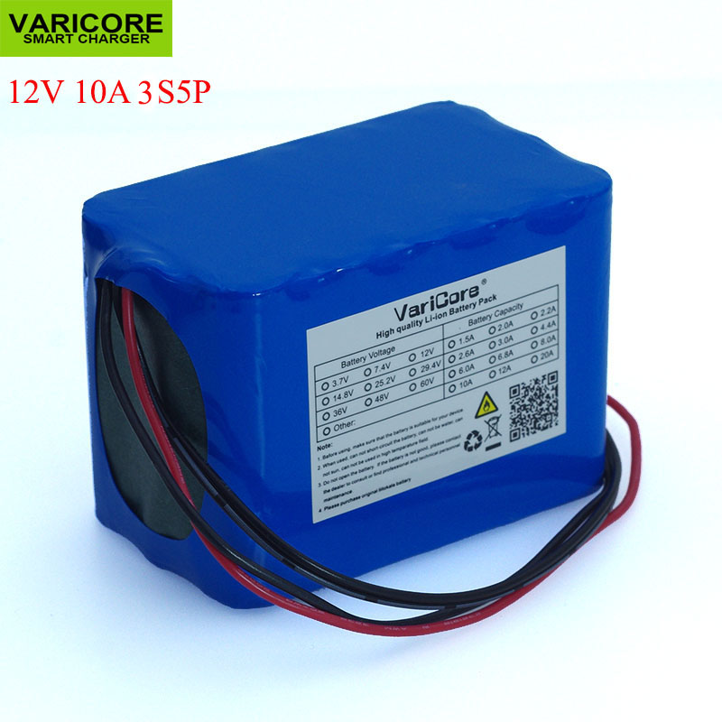 VariCore 100% New Protection Large capacity 12 V 10Ah 18650 lithium Rechargeable battery pack 12.6v 10000 mAh capacityVariCore 100% New Protection Large capacity 12 V 10Ah 18650 lithium Rechargeable battery pack 12.6v 10000 mAh capacity