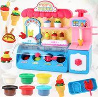 Children's kitchen tableware DIY ice cream shop ice cream color mud light music ice cream machine supermarket play house toys