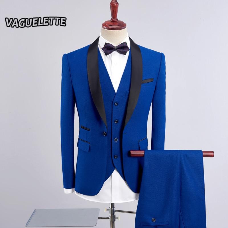 Здесь продается  (Blazer+Vest+Pants) Royal Blue Suit Men 3 Piece Business Formal Wedding Suit Wine Red Shawl Collar Slim Fit Tuxedos For Men 4XL  Одежда и аксессуары