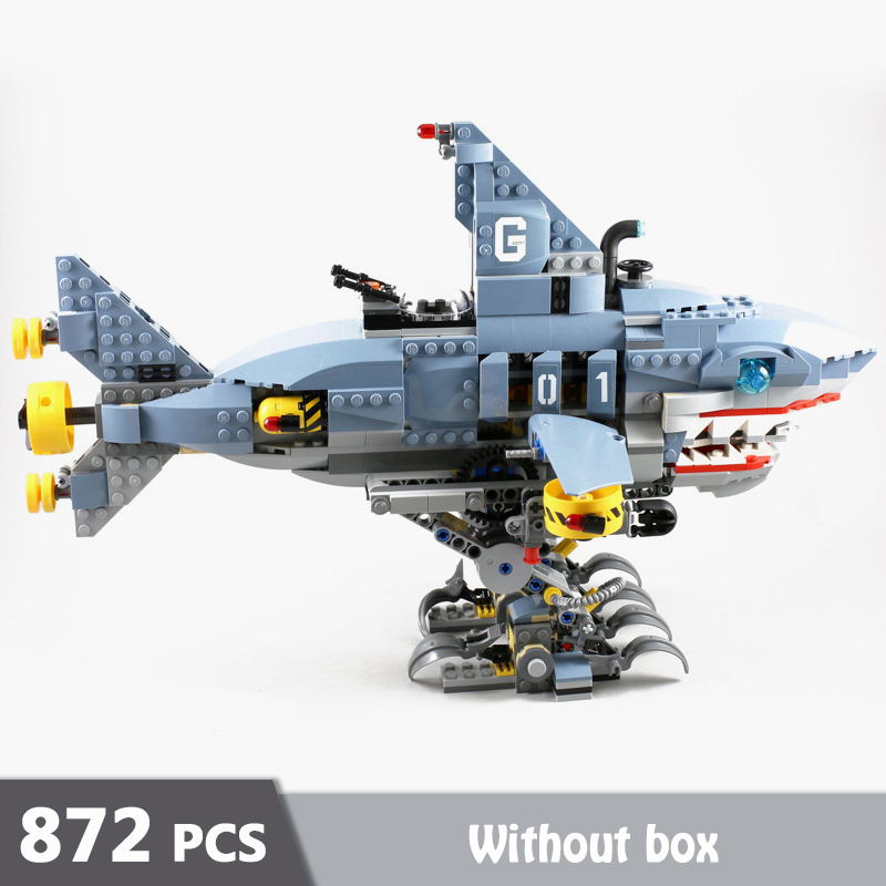 872 pièces Garmadon Mech requin Machine modèle blocs de construction empilables briques jouets pour enfants