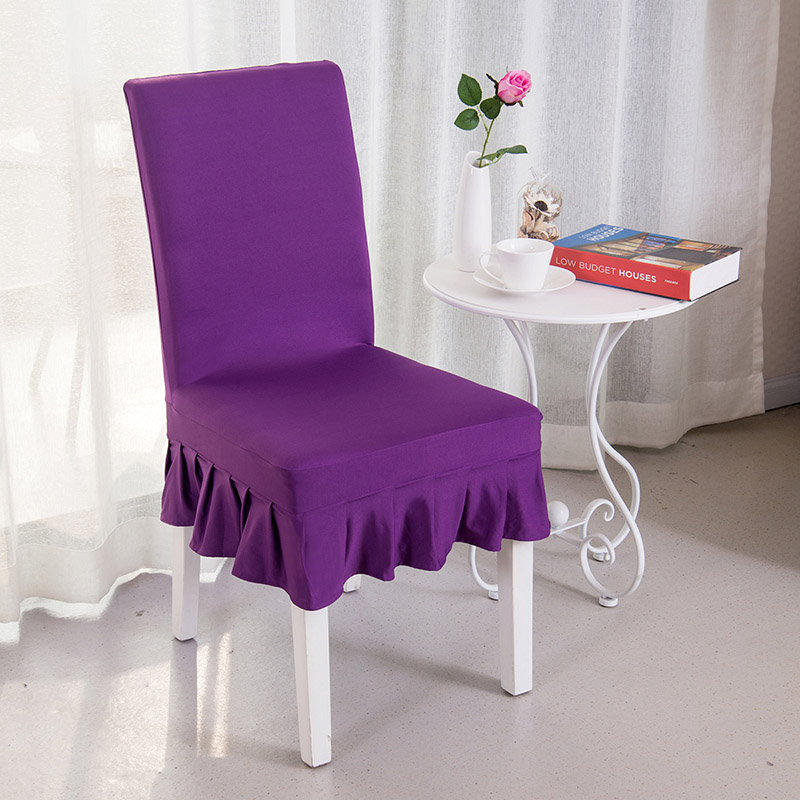 Purple High Quality Spandex Chair Covers Elastic Short Skirt Dustproof For Weddings Dining Home