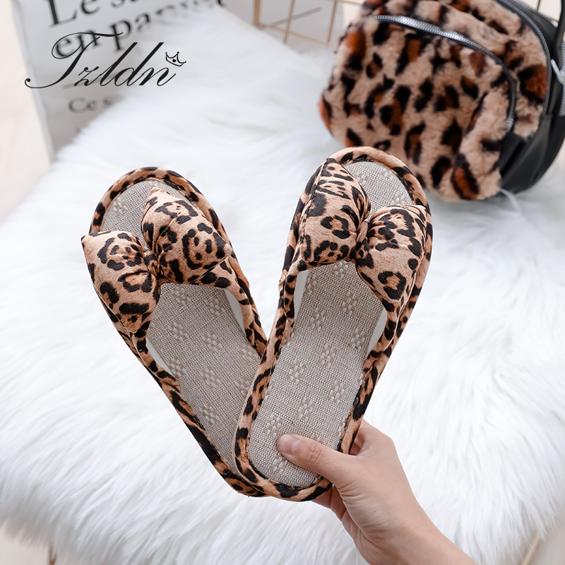 Natural Flax Home Woman Slippers Bow Leopard Indoor Floor Shoes Ladies Sweat Flip-flops Summer Women Beach Flat Sandals TZLDN(China)