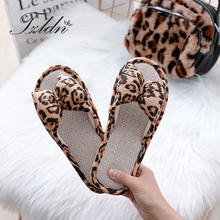 Natural Flax Home Woman Slippers Bow Leopard Indoor Floor Shoes Ladies Sweat Flip-flops Summer Women Beach Flat Sandals TZLDN недорого