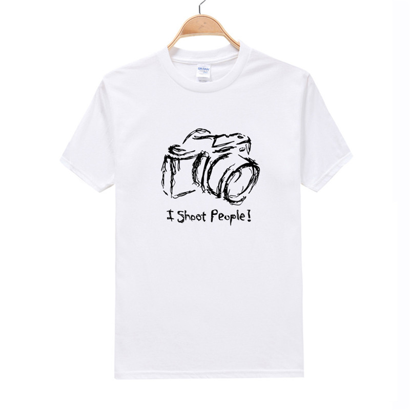 I Shoot People T-shirt Cotton Mens O Neck Short Sleeve T Shirt Camera Photography Photograph Photo Printed T Shirt Size M L XXL