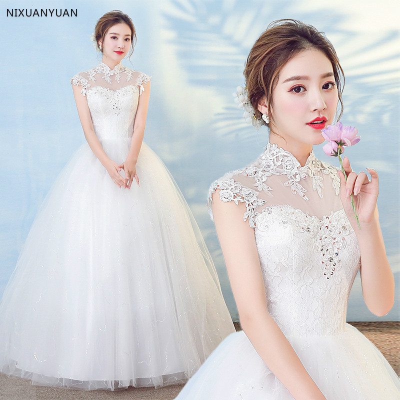 Ball Gowns Off the Shoulder White Ivory Tulle Wedding Dresses 2019 with Pearls Bridal Dress Marriage Customer Made Size