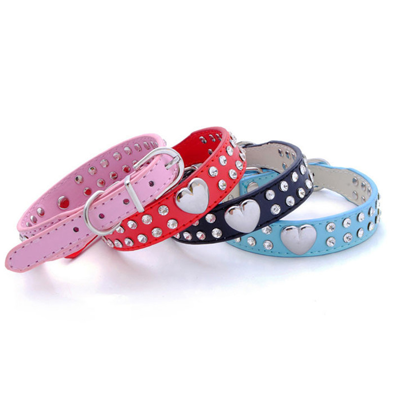 2017 Dog Collars and Leashes Bling Rhinestones Dog Collar Pets Collar Dog Neck Pet Supplies Dog Products Hot Sale
