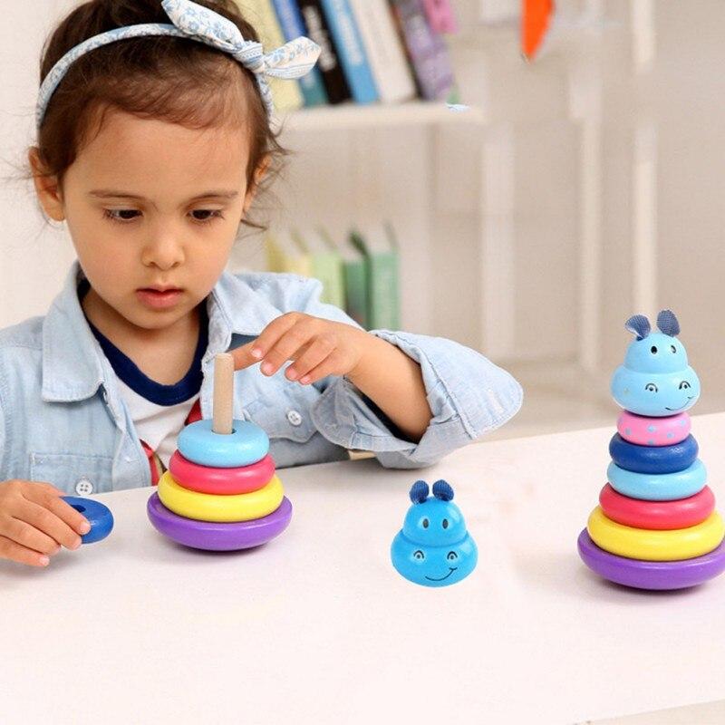 Baby Kinderen Vroege Onderwijs Speelgoed Stapelen Nest Leren Stack Up Cartoon Regenboog Toren Blokken Puzzels Speelgoed Voor Kinderen