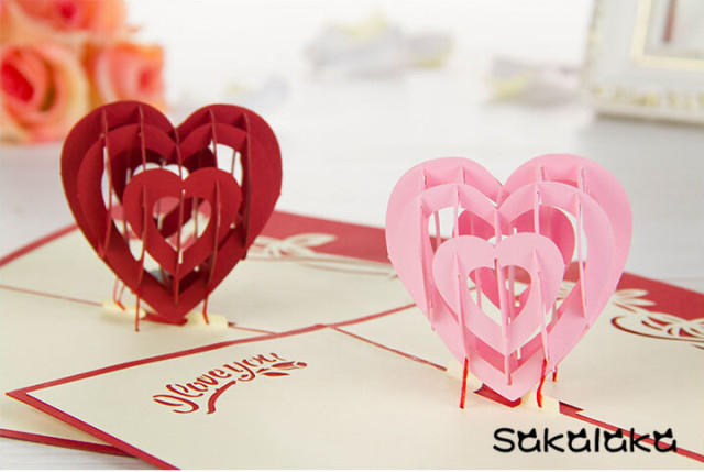 Aliexpress Buy 3d Handmade Valentines Day Cards Fancy Paper