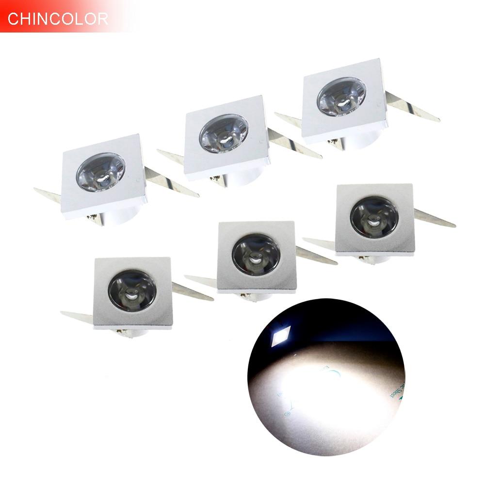 Led spotlight 6pcs Square mini spot Light Led ceiling light 1W 3W AC110V 220V led cabinet indoor lighting with Led driver IL