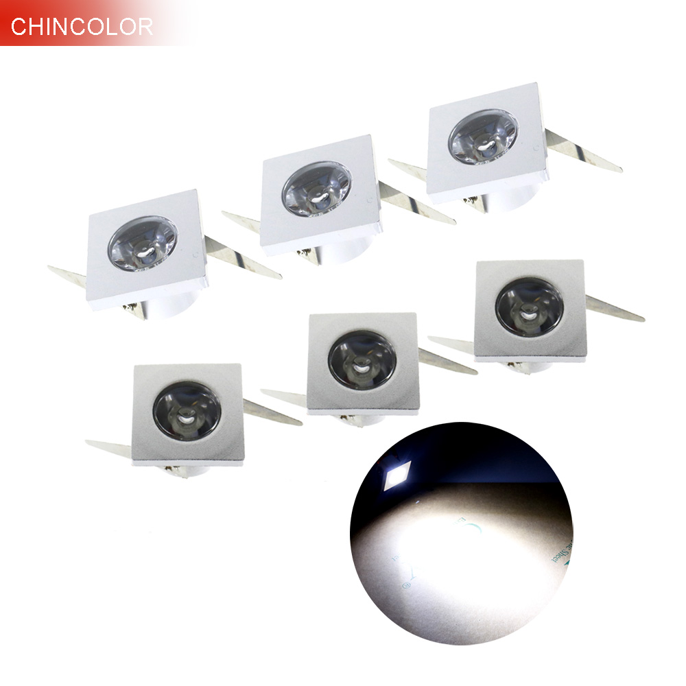 led spotlight 6pcs square mini spot light led ceiling light 1w 3w ac110v 220v led cabinet indoor. Black Bedroom Furniture Sets. Home Design Ideas