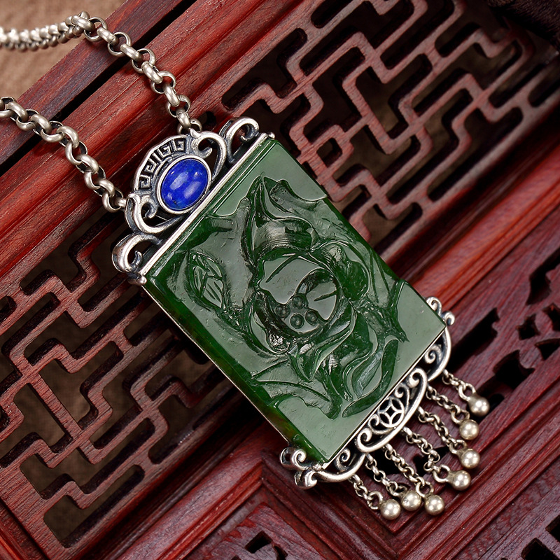 S925 pure silver restoring ancient ways is hetian jade jade inlay lapis ms lotus flower wholesale sweater chain pendant цена 2017