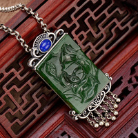 S925 pure silver restoring ancient ways is hetian jade jade inlay lapis ms lotus flower wholesale sweater chain pendant