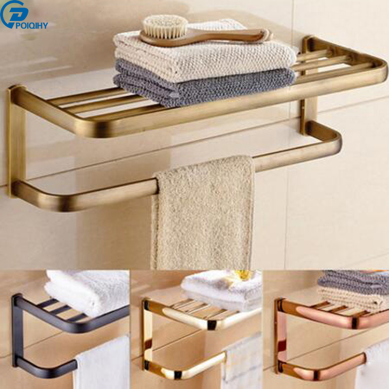 POIQIHY Multi style Towel Racks High Quality Bath Towel Shelves Towel Bar Bath Hardware Towel Hanger bathroom accessories ornamentation bathroom accessories bath hardware high quality full brass towel bar aliexpress delivery logistics guarantee