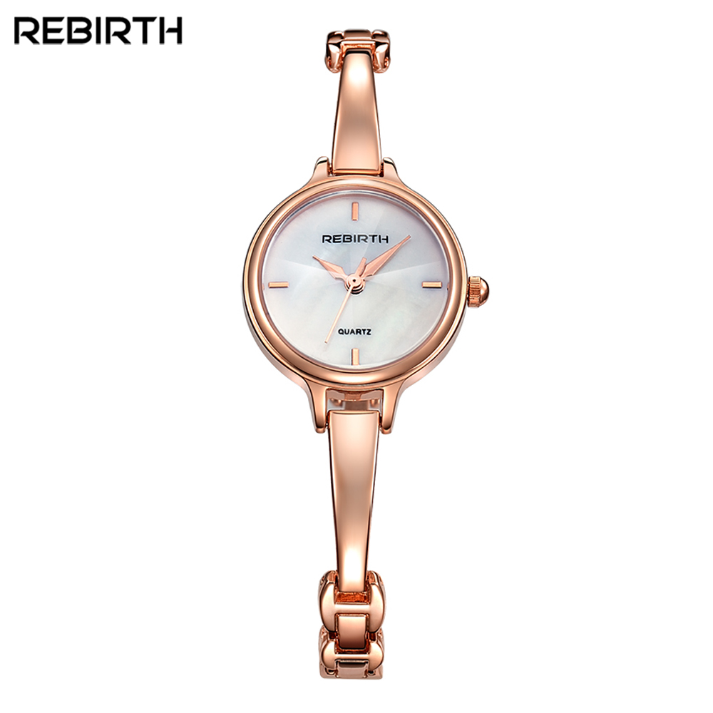 Rebirth Women Fashion Watch Stainless Steel Band thin elegant luxury Analog Classic Quartz Business Wristwatch iw 8758g 3 men s and women s quartz watch fabric classic canterbury stainless steel watch with multi color striped band