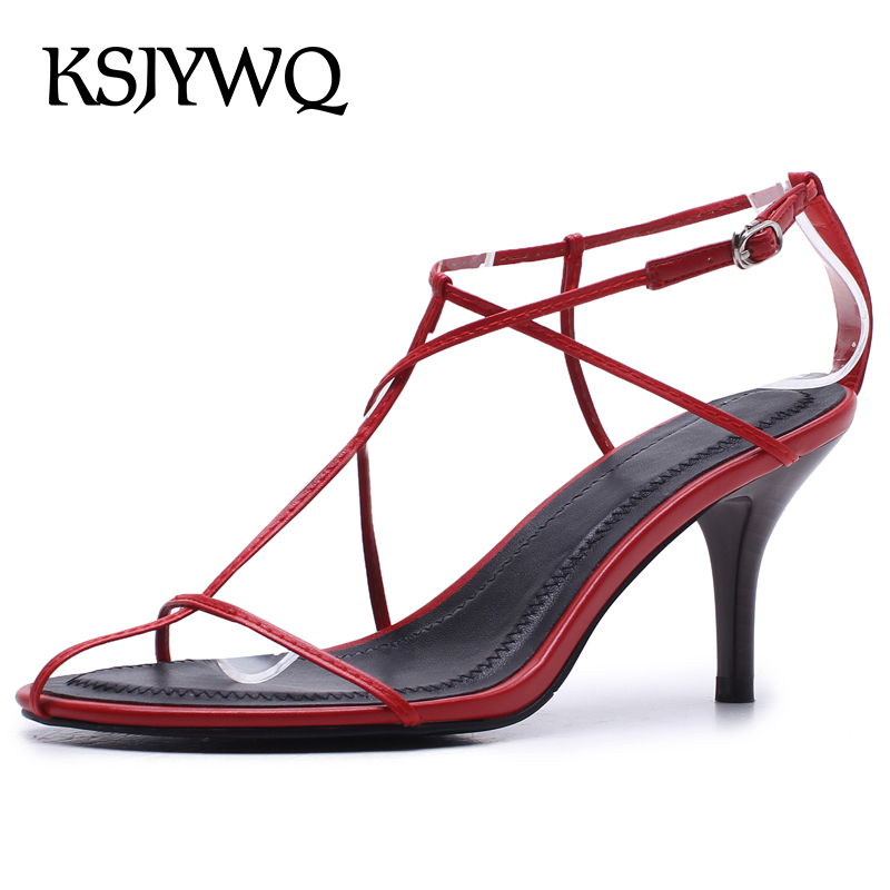 цена на KSJYWQ Red Leather Women Sandals 7.5 CM High Heels Summer Style Dress Buckle Pumps Open-toe Woman Party Shoes Box Packing A208