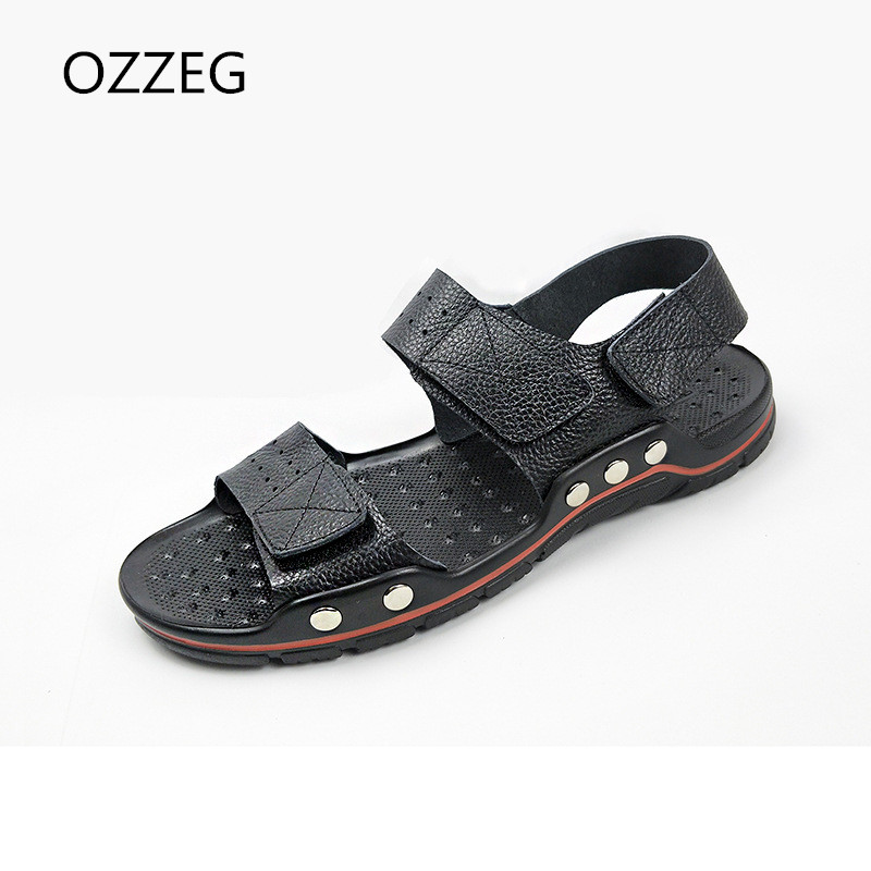 Men Casual Summer Sandals Mens Genuine Leather Beach Sandals Hook & Loop Casual Men Shoes Rome Sandals Flat Shoes For Man