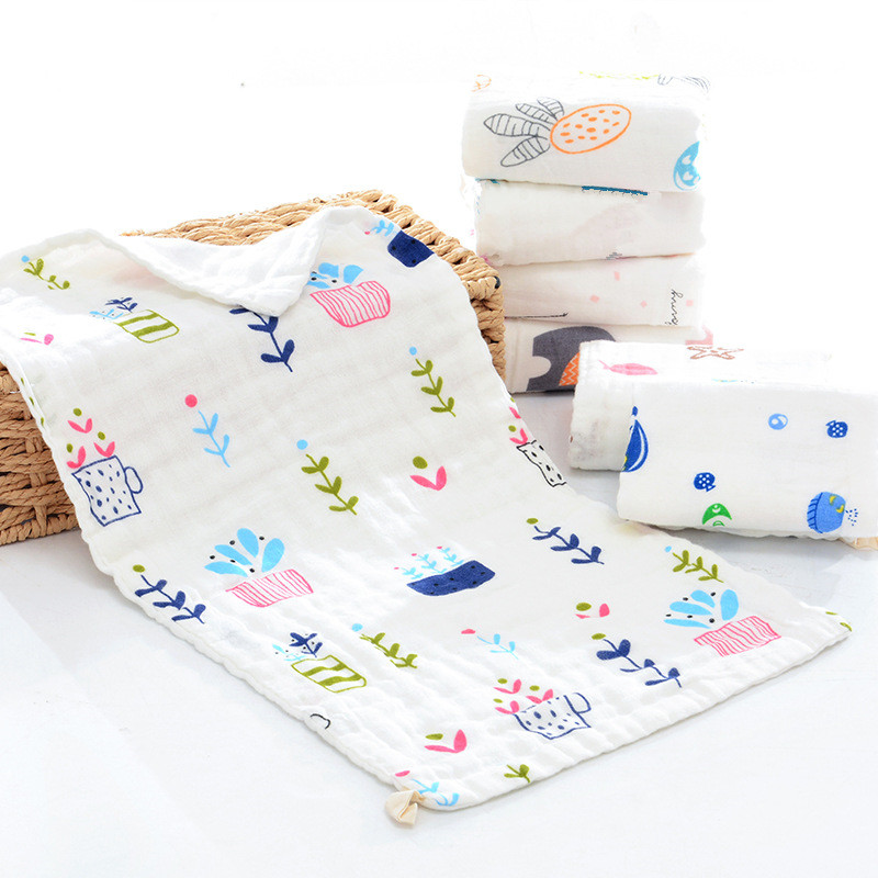 Babypflege 5 Pcs 6-schicht-dichte 100% Baumwolle Eine Klasse Musselin Gaze Wischen Tuch Baby Taschentuch Gesicht Handtuch Baby Speichel Handtuch 25x50 Cm Weder Zu Hart Noch Zu Weich Handtücher